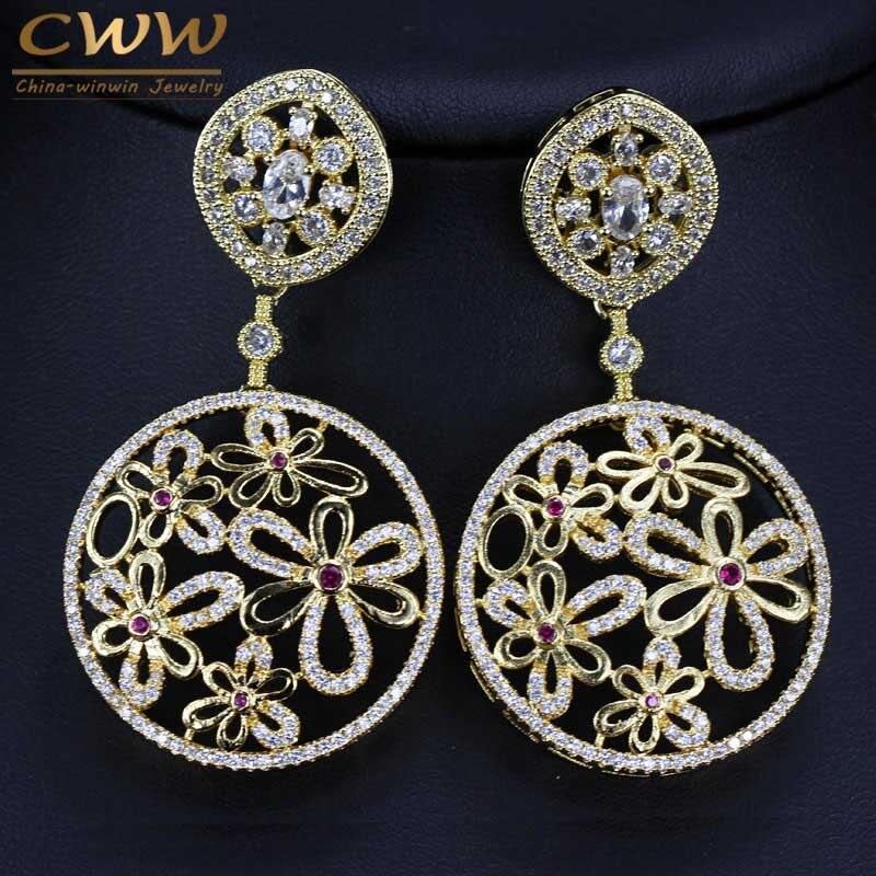 CWWZircons Indian Big Round Drop Design Cubic Zirconia Inlay Large ...