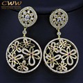 Indian Big Round Drop Design Cubic Zirconia Inlay Large Long Gold Plated Earrings For Women Party Custom Jewelry CZ237