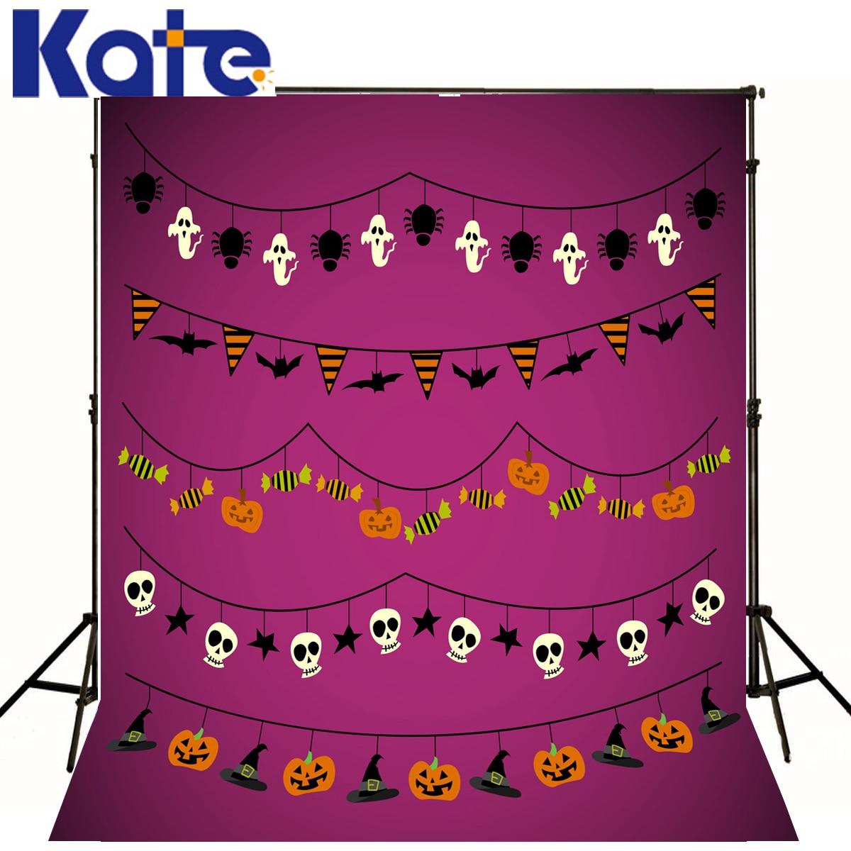 Photo Décors Mur Violet Crâne Photographie Décors Halloween Fantôme Chauve-Souris Drapeau Bonbons Photo Studio Fond Toile de Fond