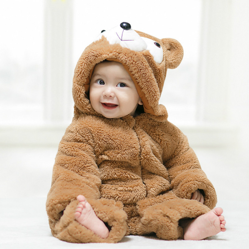 2018 Cute Cartoon Bear Baby Girls Clothes Animal Baby Rompers Costume Winter Clothes for Boys Warm Snowsuit Jumpsuit 2016 winter new soft bottom solid color baby shoes for little boys and girls plus velvet warm baby toddler shoes free shipping