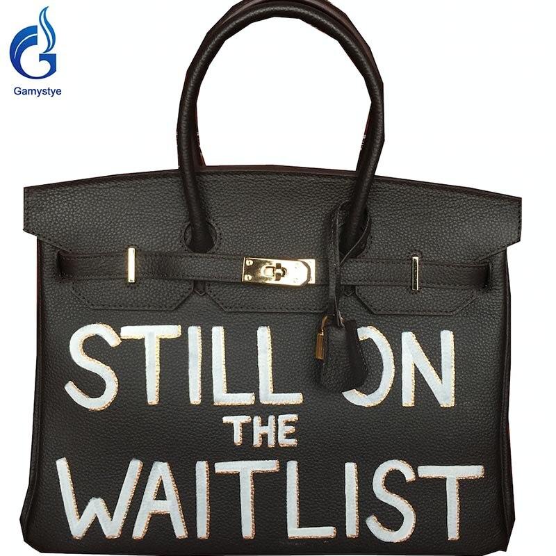 где купить  With STILLON WAITLIST GAMYSTYE brand Women Genuine Leather Handbag Messenger Bags Hand Painted art bags Custom Design tote YG  по лучшей цене