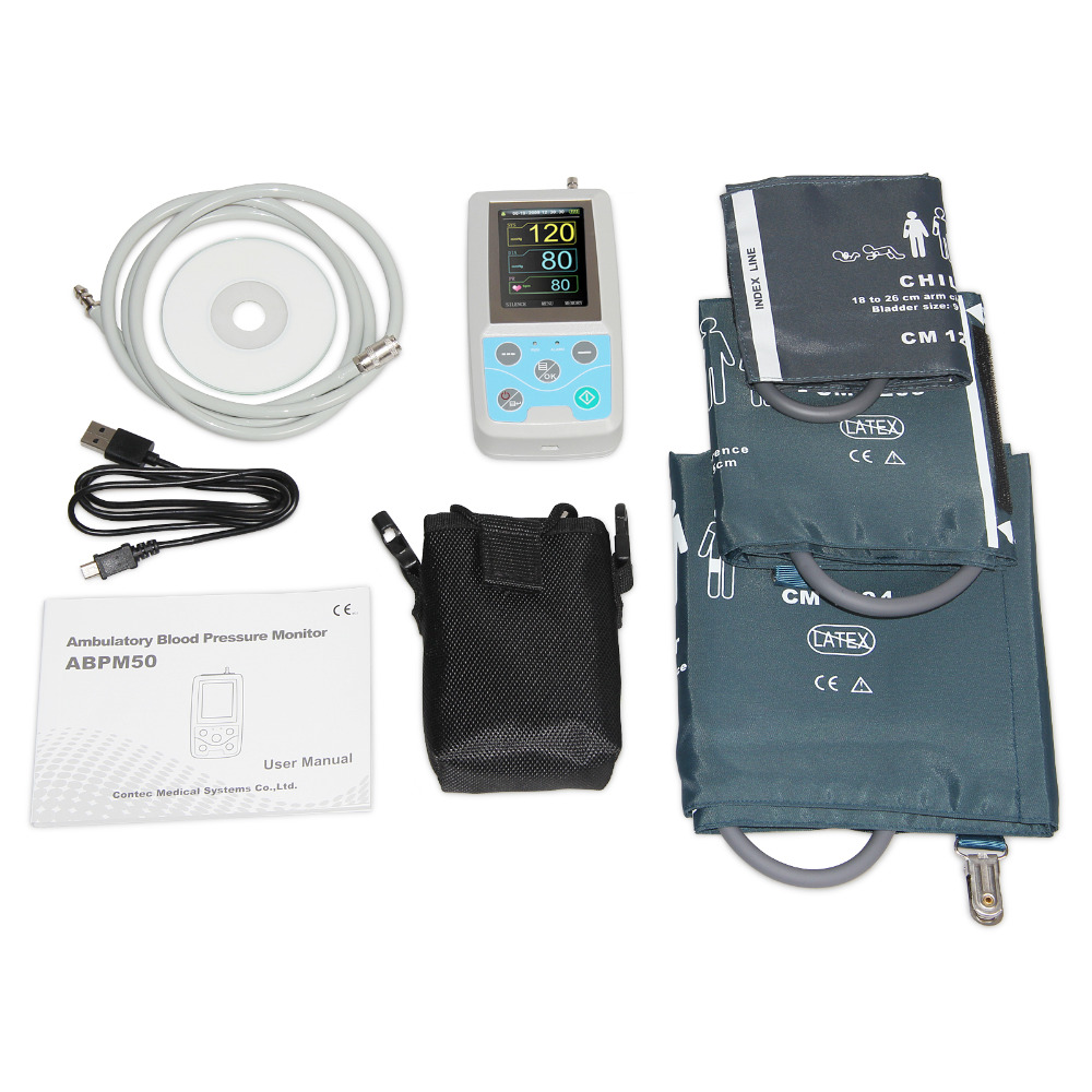 NIBP Monitor 24hour Ambulatory Blood Pressure Monitor Holter Abpm50+3 Pcs Cuffs,PC Software,Child+Adult+Large Adult Cuffs,FDA CE