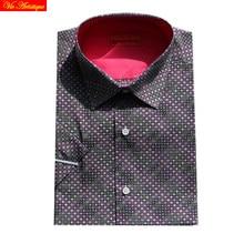 purple cotton polka dot floral men's short sleeve male fashion slim fit dress shirts big sizes high quality 6789 XL  summer VA
