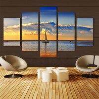 2016 Promoção Hot Sale Retângulo Cuadros Quadros Atacado 5 pcs Oceano Pintura A Óleo Pintado Sobre Tela Home Decor Pictures