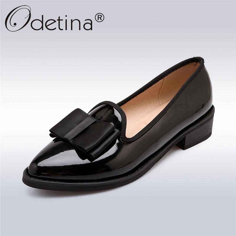 Odetina 2017 New Fashion Ladies Low Heel Shoes Pointed Toe Square Heel Leisure Women Pumps Bow Tie Casual Shoes Big Size 32-43 odetina fashion women pointed toe rivets loafers 2017 spring