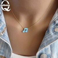 2017 Mới Nhất màu xanh opal Musical note Mặt Dây Colar thời trang Necklaces collier đối với Phụ Nữ jewelry