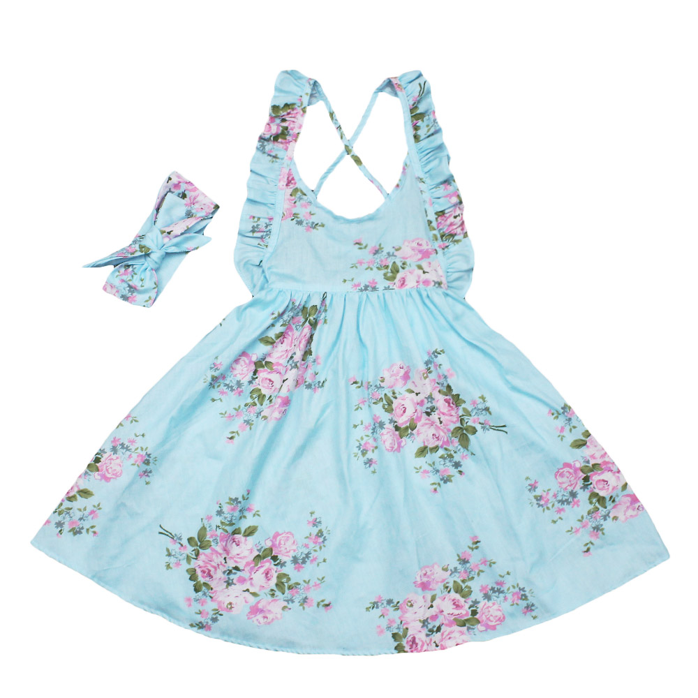 princess baby girls dress summer casual flower dresses headband children kids cute clothing party vestidos mujer vestido infant