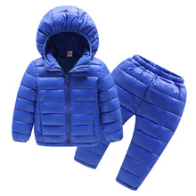 Grandwish Winter Warm Cotton Sets for Boys Children Solid Hood Suit Coats+Pants Girls Autumn Thin and Light Costume 24M-8T,TC086