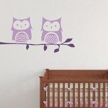 Two Owls Branch Pattern Wall Decal Cute Animal Leaves Stickers For Kids Rooms Kid Nursery Art Mural DIY Bedroom DecorSYY826