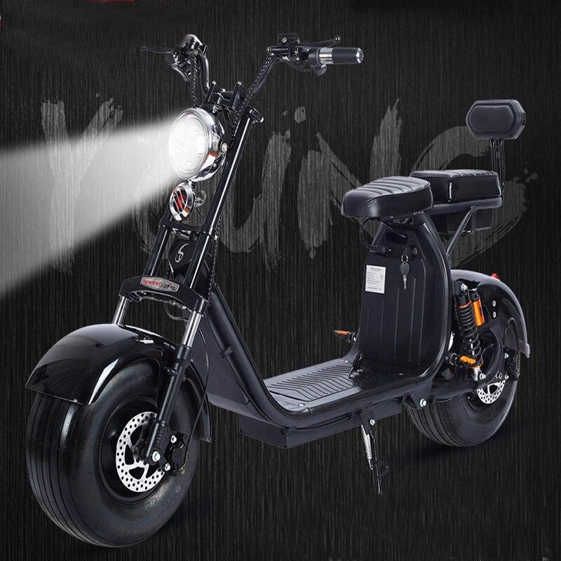 Citycoco электрический самокат 1000 Вт двигатель 60 В 12AH литиевых Батарея с большим колеса мотоцикла двойной сиденье