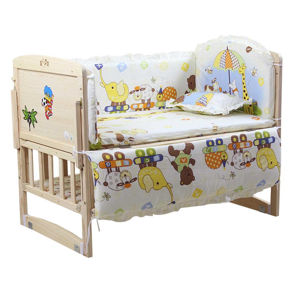5 יח'\סט תינוק מיטת פגושים טהור כותנה תינוק מצעי סט יילוד קריקטורה מודפס עריסה מגן עבור פעוט 90*50cm