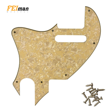 Pleroo Guitar parts Pickguards For Fender left handed American Tele F hole Hybrid Guitar Scratch Plate Support customization