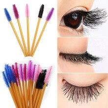 50pcs/lot eyelash brush makeup brushes 50pcs individual disposable mascara applicator comb wand lash makeup brushes tools цена 2017