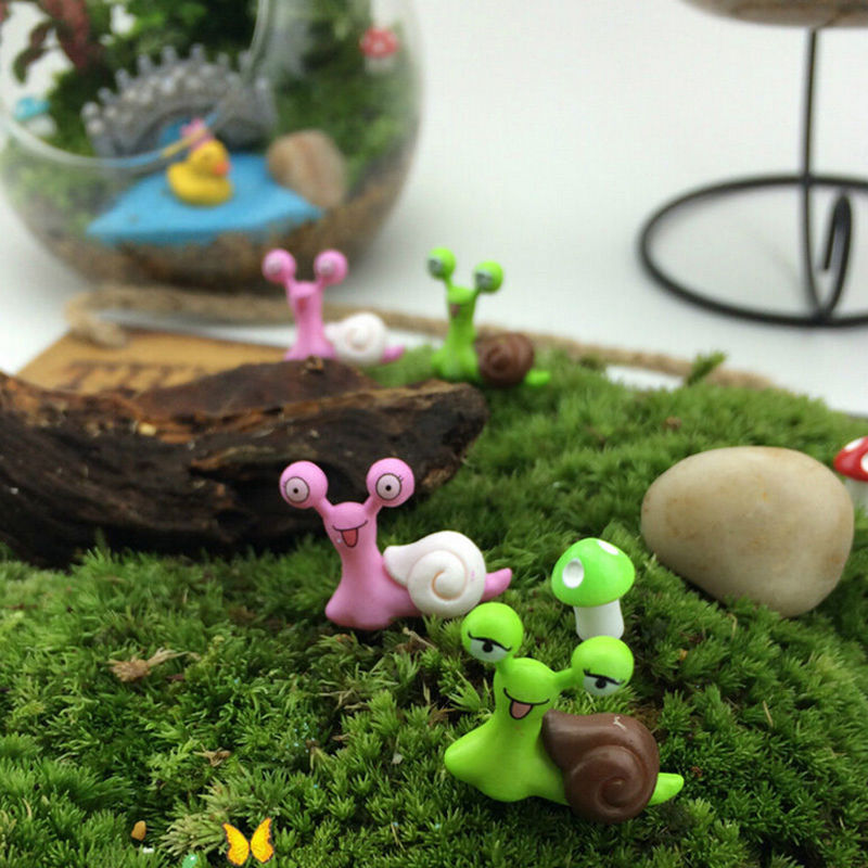NEW Hot Sale Miniature Snail Figurine Decor Fairy Garden Dollhouse Ornament Random Color