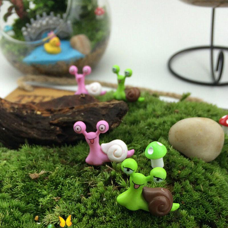 NEW Hot Sale Miniature Snail Figurine Decor Fairy Garden Dollhouse Ornament Random Color