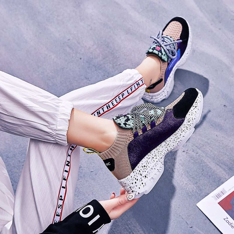 Asumer 크기 35 41 새로운 2019 숙 녀 신발 암소 가죽 말 머리 여자 스 니 커 즈 레이스 스웨이드 양말 플랫폼 스 니 커 즈 여성을위한-에서여성용 플랫부터 신발 의  그룹 3