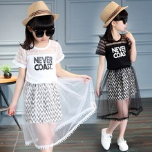 2019 Children Girls Letter Print Cotton Slim Dress Girl New Summer Clothes Korean Style Princess Dress Lace Double Layered Dress