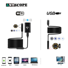 цены Antscope Wifi Endoscope 8mm 2/5/7/10M Hardwire Endoscopio Android 720P iOS Iphone 7mm Softwire Endoscope Camera USB Endoskop 30
