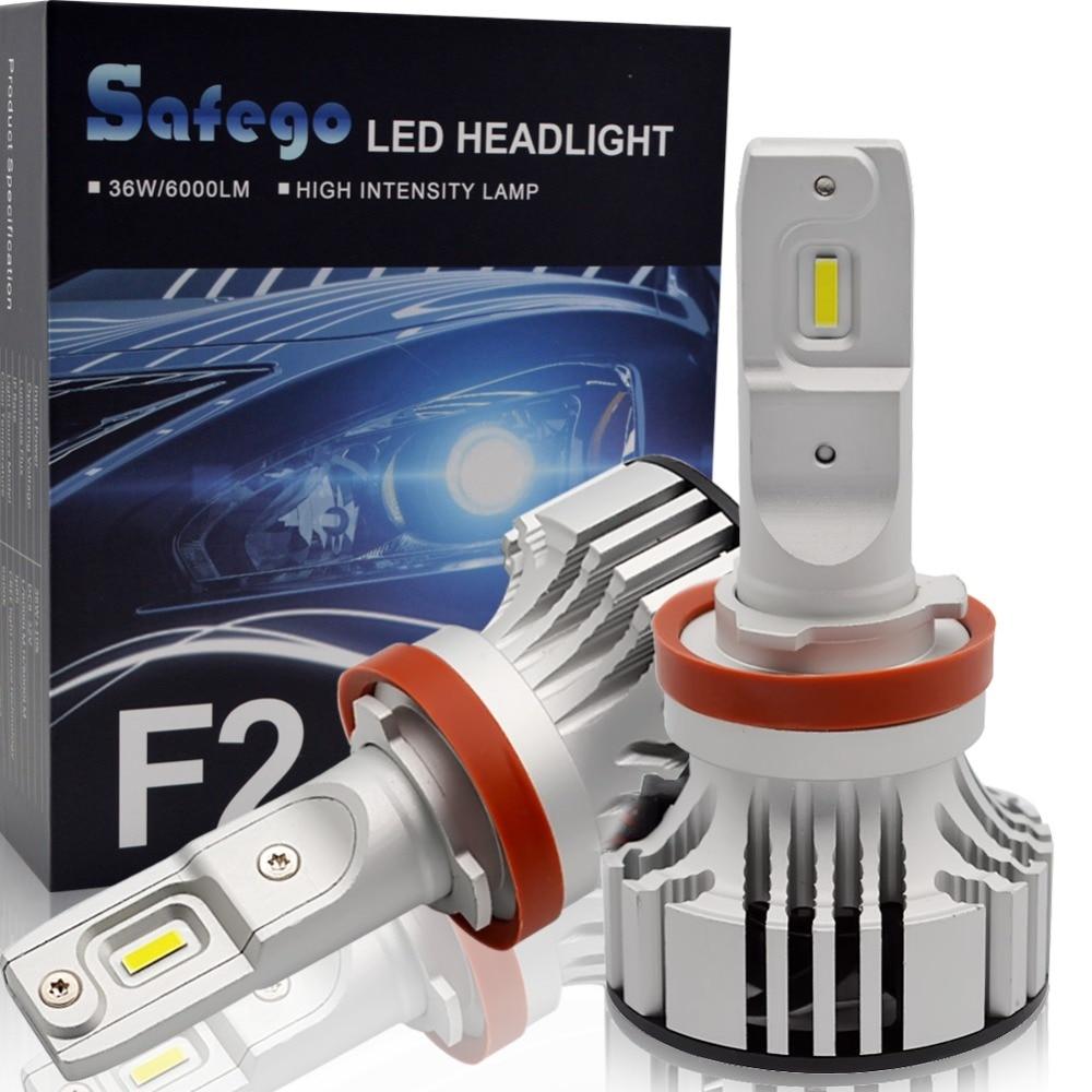 Safego 36W H8 H9 H11 H4 Hi/Lo H7 Car LED Headlight Kit Bulbs 9005 9006 4 Super Bright LED Chips Auto Bulb White 6000K