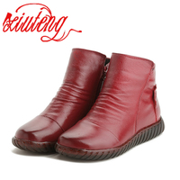 Xiuteng 2017 New Women Winter Boots Genuine Leather Shoes High Quality Short Plush Inside Hands Sewing
