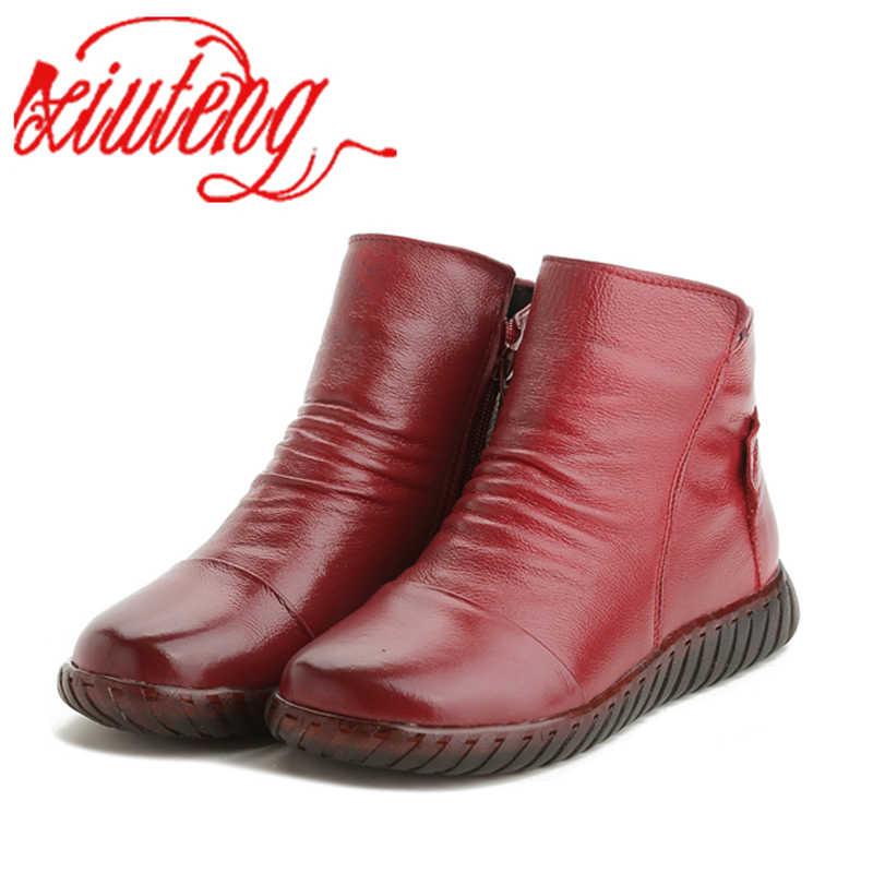420c105c8565 Xiuteng 2018 новые женские зимние сапоги из натуральной кожи обувь высокого  качества с ...