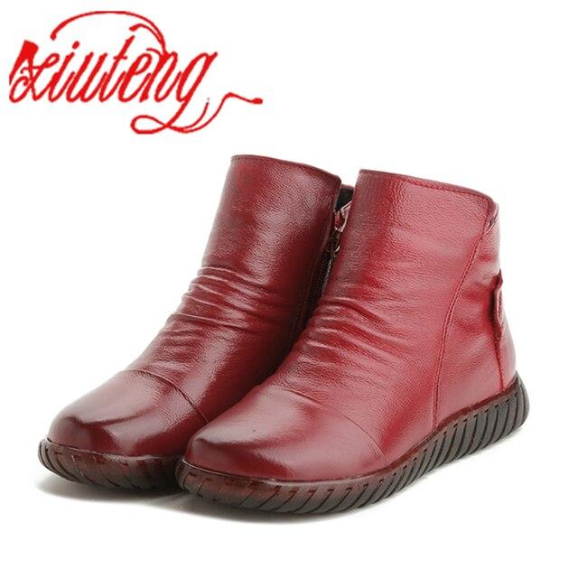Xiuteng 2019 Yeni Kadın Kış Botları Hakiki deri ayakkabı Yüksek kaliteli Kısa Peluş İç El Dikiş Zip Tasarım Düz ayakkabı