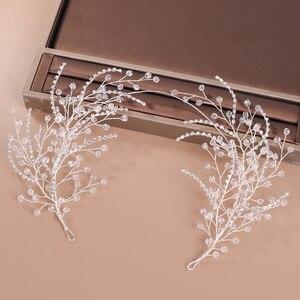 Image 3 - Diademas de diamantes de imitación de cristal para mujer, accesorios para el cabello de boda hechos a mano, Color plateado