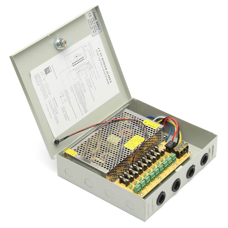 9 Channel 10A 120W AC 110V-250V To DC 12V 8CH LED Switching Power Supply Distribution Box For CCTV Security Camera security camera cctv power supply box dc 12v 5a 9 channels distribution box