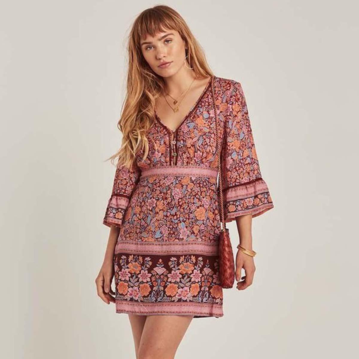Col en v bohème Vintage imprimé Floral robes d'été femmes bouton avant Flare manches Mini robe Boho Chic Vestidos