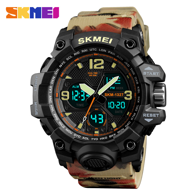 Skmei Shock Water Resistant Sport Watch Men Digital Dual Time Army Top Brand Alarm Quality Analog Wrist watches Electronic Clock