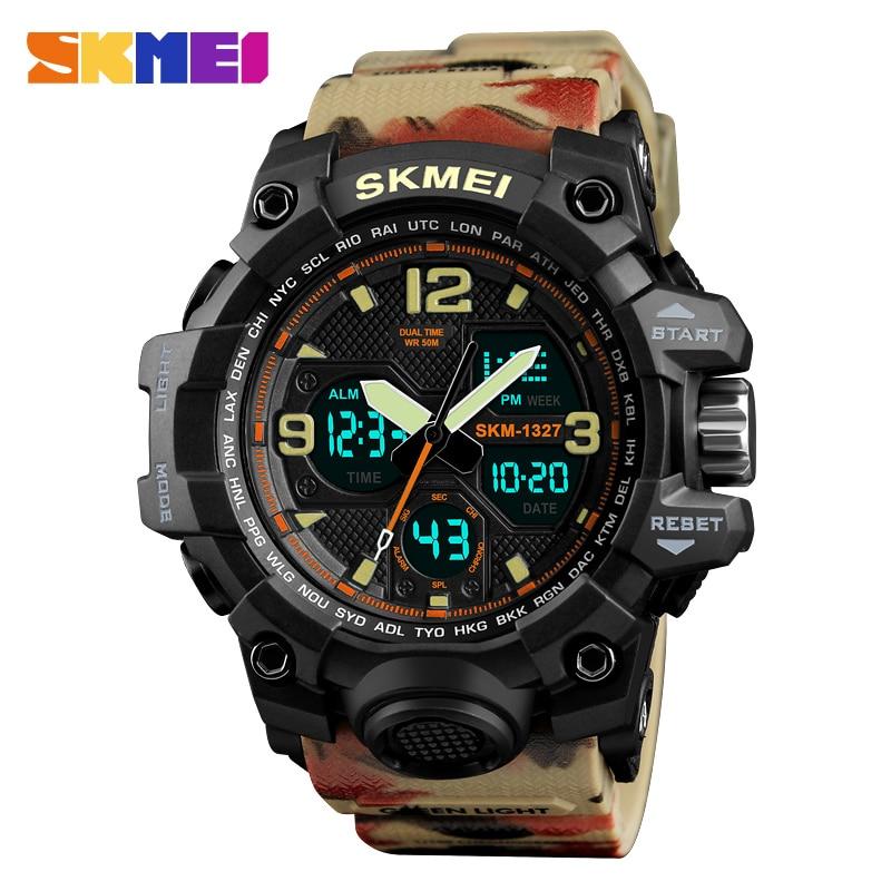 Skmei Shock Water Resistant Sport Watch Men Digital Dual Time Army Top Brand Alarm Quality Analog Wrist watches Electronic Clock