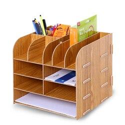 Houten Bestand Rack Bestand Houder multifunctionele Desktop Opbergdoos Document Trays Kantoor Plank Penhouder bureau organizer boekensteunen