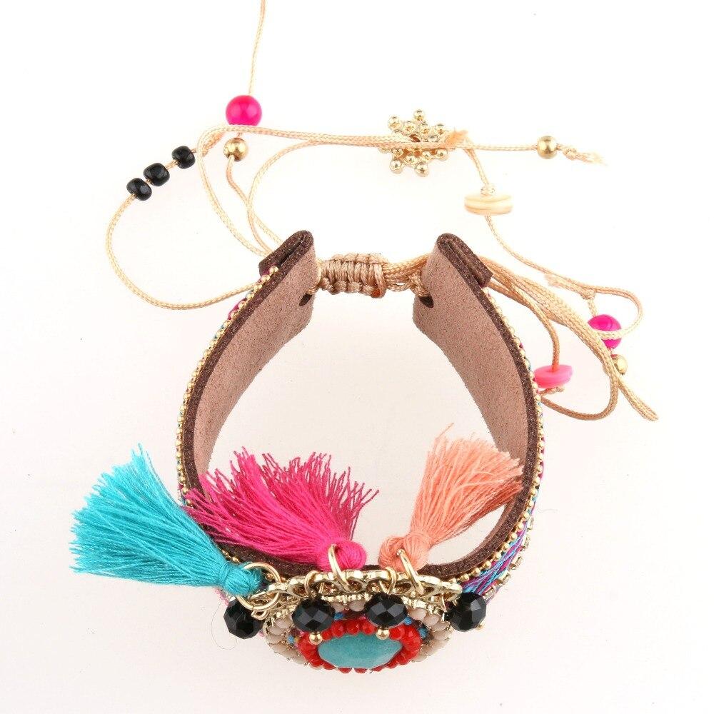 Hongyingfu Women Bohemian Style Bracelet Handmade Fringed Bracelet Europe and the United States Big Bracelet New Jewelry