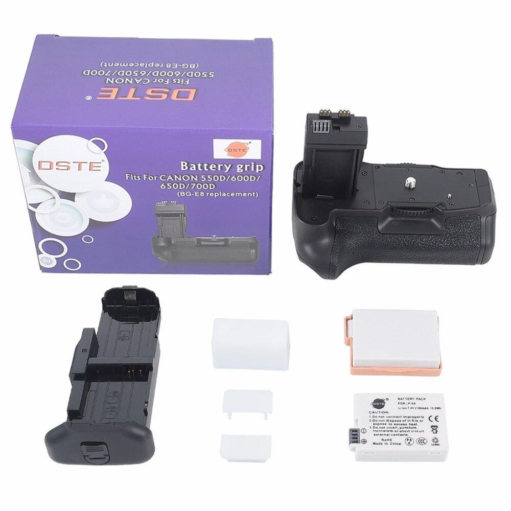 DSTE BG-E8 Batterie Grip pour CANON 550D 600D 650D 700D Rebelles T2i T3i T4i T5i Caméra Batterie Poignée Avec 2 pièces LP-E8