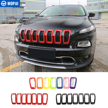 Accesorios de Exterior para coches MOPAI, cubierta de parrilla delantera de ABS 3D, pegatinas de marco de decoración para Jeep Cherokee 2014 Up