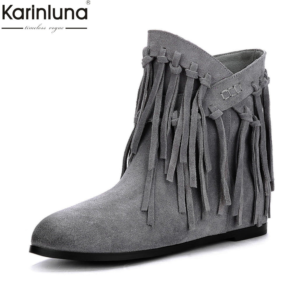 все цены на KarinLuna 2018 Cow Suede Large Size 34-43 Dropship Hot Sale Fringe Slip On Wedge Heels Ankle Boots Woman Woman Boots