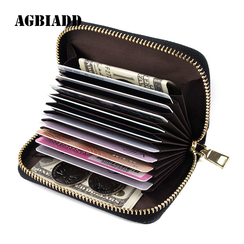 AGBIADD Genuine Leather Mini Credit Card Case Organizer Compact Cardholder Wallet Extendable Women Zipper Credit Card Holder 584 unistyle fashion butterfly business card holder card women leather wallet credit card holder book id card case floral cardholder