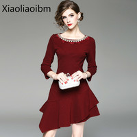 Autumn Clothes Round Neck Products Heat Woman Dress Heavy Shoulder Nine Split Sleeves Pearl Irregular Dress