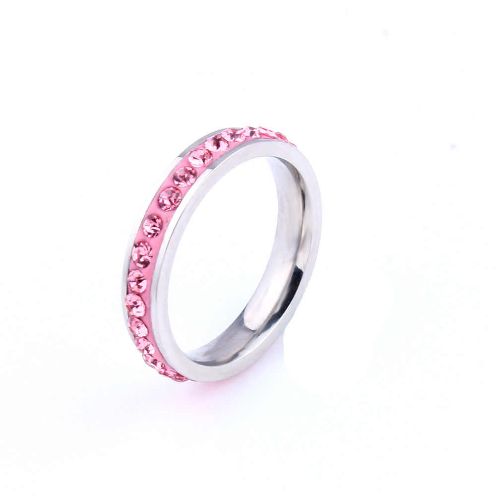 engagement zirconer love pink female stainless steel wedding   valentine couple finger ring for women bijouterie gift