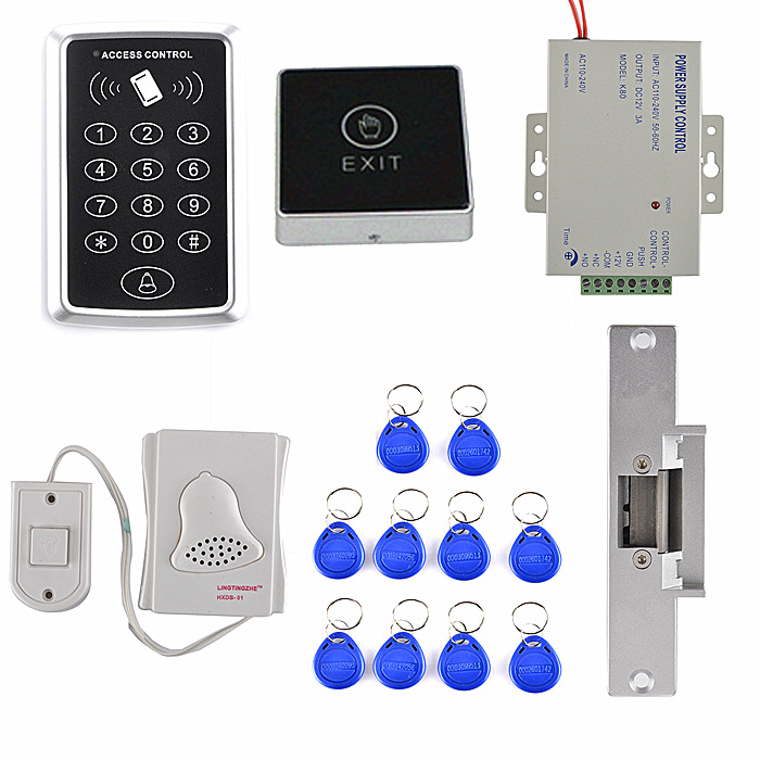 125KHz Rfid Card Reader Access Control System kit +Bule Light Touch Door Button+10 RFID Card T10 125khz rfid card access control video door phone system wired 7 inch color screen video door bell with rfid card reader