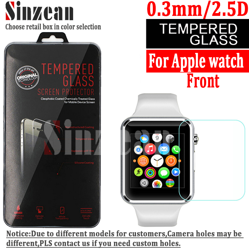 Sinzean 100pcs lot 0 3mm 2 5D 9H For Apple watch 38mm 42mm 40mm 44mm tempered