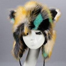 Женские зимние шапки-бомберы с кошачьими ушками из искусственного меха, милые меховые шапки с помпонами, бархатные утепленные шапки для защиты ушей W004