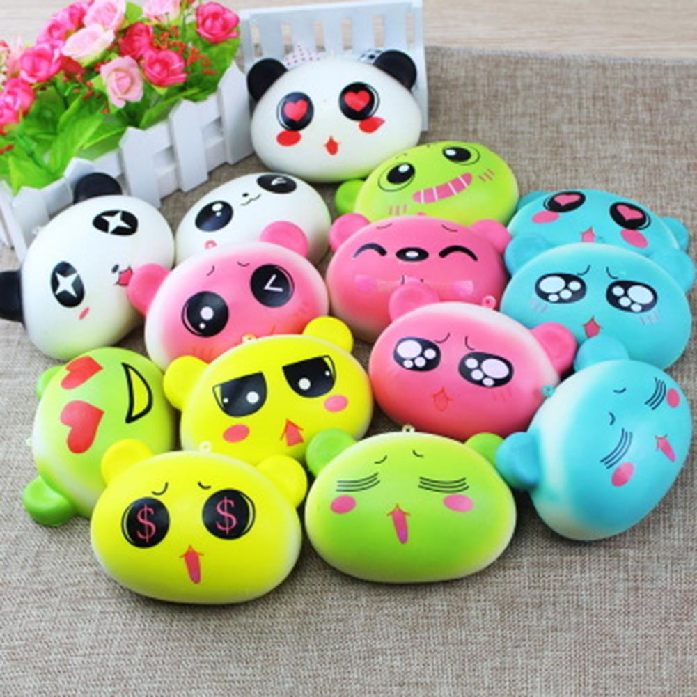 1pcs Random Color Realistic PU Colorful Kawaii Mini Lovely Expression Bear Slow Rising Stress Relief Toys For Children