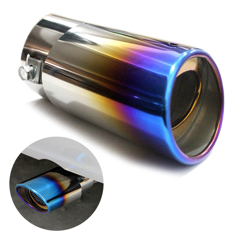 1set colorful stainless steel car rear tail exhaust straight pipe muffler tips