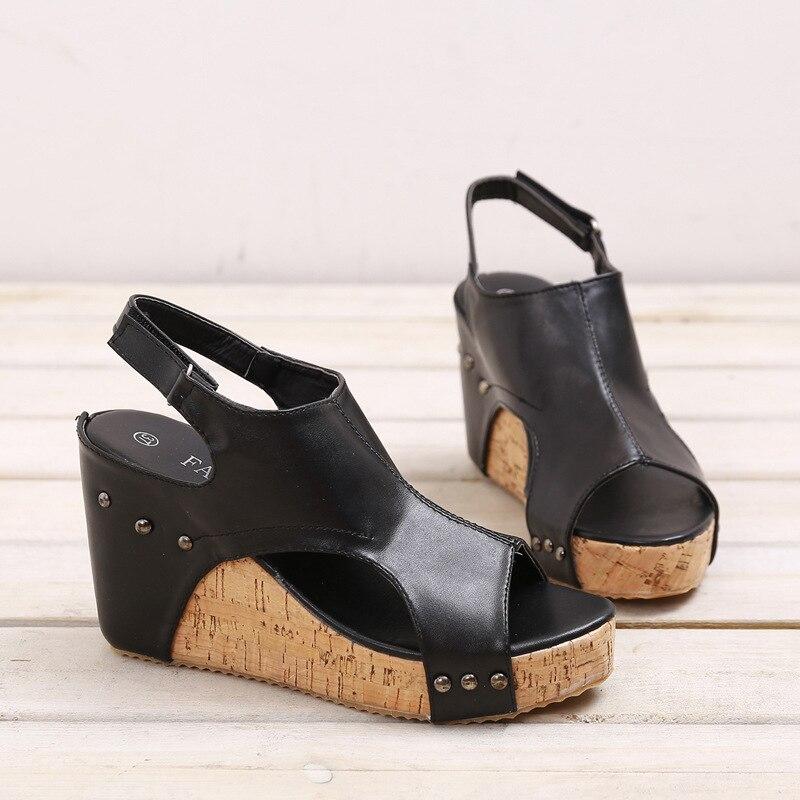 EOEODOIT Women Gladiator Sandals 2018 Summer Platform Wedges Heel Leather Pumps Sandals Retro Peep Toe Shoes Plus Size  34 41 42