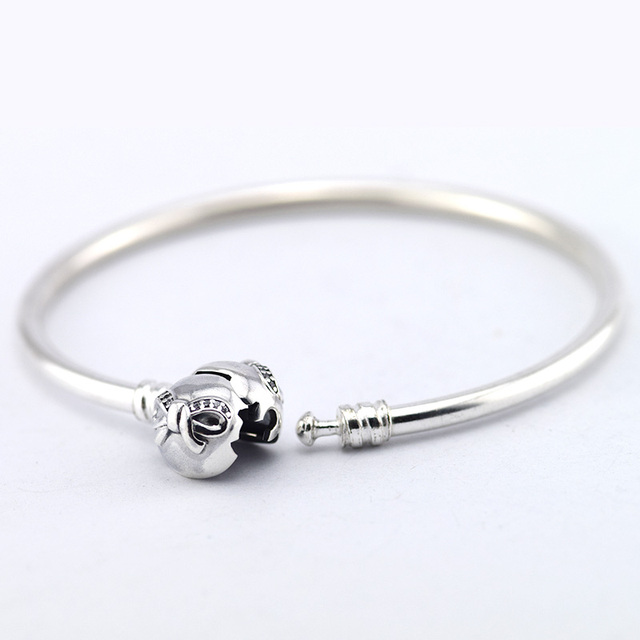 Original 100% 925 Sterling Silver Bangles with Cubic Zircon Charm Bracelet Compatible With 925 Sterling Silver Charm Bead