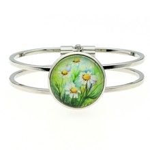 Women Fashion High Quality 25mm Daisy Flower Glass Cabochon Cuff Bangles Dropshipping Handmade Jewelry