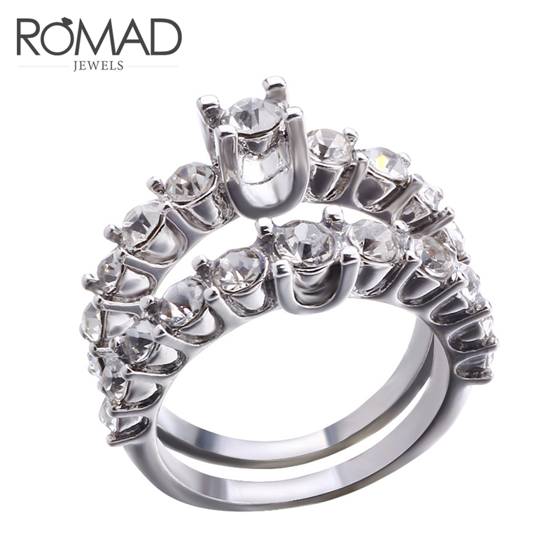 Romad Fashion Crystal White Zircon Ring Sets Luxury 925 Silver Engagement Ring Vintage Bridal Wedding Rings For Women Bague R4