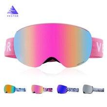 4473b8a7ac944 VECTOR magnética gafas de esquí UV400 protección Anti-vaho de Snowboard de esquí  para hombres mujeres gafas de esquí Snowboard n.