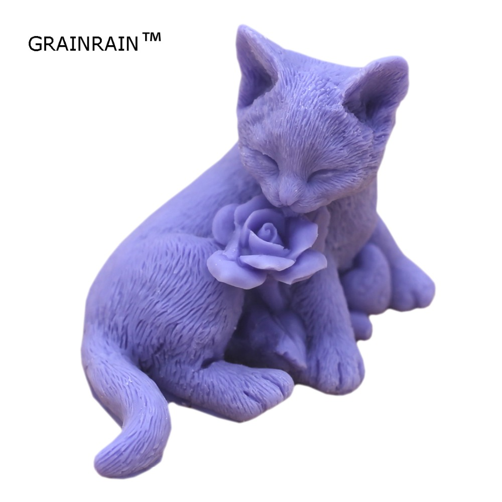 Grainrain Handcrafted Cat Rose Soap Mold Silicone Candle Wax Resin Mould Handmade Mold